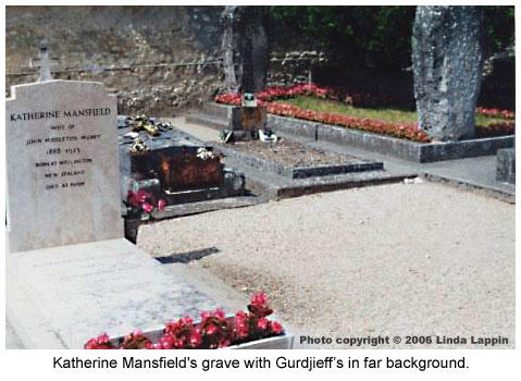 Katherine Mansfield's grave with Gurdjieff in background.